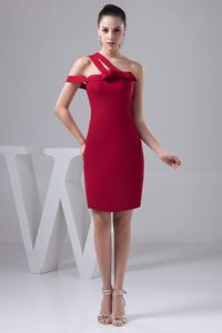 Asymmetrical Neckline Mini Red Dresses For Bride Mother with Bowknot