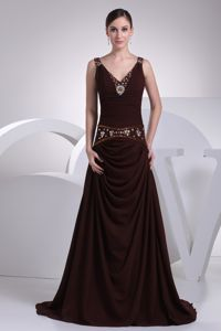 Burgundy V-neck Mother Bride Dress in Mc Intosh with Beading and Ruche