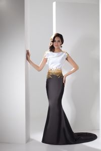 Trumpet with Gold Beadings Mother of Bride Dresses Cap Sleeves Style