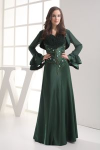 Straps Beaded Dark Green Jacket Matching Mother of The Groom Dresses
