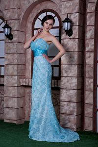 Aqua Blue Column Mother of The Bride Outfits with Rolling Flowers