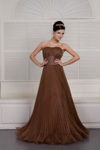 Brown A-line Sweetheart Organza Ruched Mother Bride Dresses in Huron