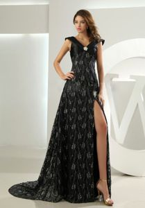 Lace Empire V-neck Brush Mother Dresses in Gary High Slit Design