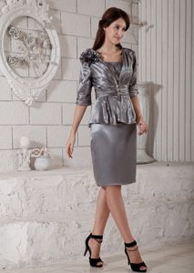 Grey Scoop Knee-length Flower Mother of The Bride Outfits in Deadwood