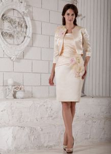 Knee-length Flowers and Ruche Dresses For Bride Mother in Champagne