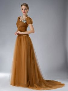 Brown Empire Square Brush Mother of Bride Dress in Colton with Appliques