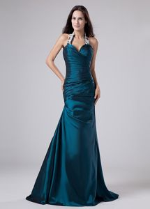Modest Halter Turquoise with Appliques and Ruche Dresses For Bride Mother