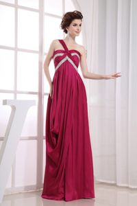 Beading and Ruching Decorate One Shoulder Wine Red Mother Bride Dresses