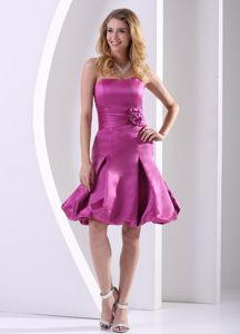 Fuchsia A-line Dresses For Bride Mother in Baltic with Ruche Flowers