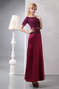 Ankle-length Burgundy Off The Shoulder Dress For Bride Mother in MD