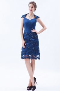 Blue Column Square Embroidery Mother Dresses for Formal Prom in OK