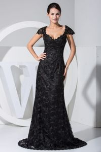 Black Lace Scoop Cap Sleeves Mother Of The Groom Dress in OH 2014