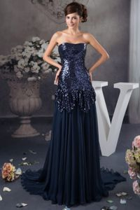 2014 Navy Blue Sweetheart Sequins Court Train Mother Dress in NC
