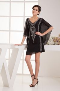 Black V-neck Beaded Mother of the Bride Dresses for Wedding in Ohio