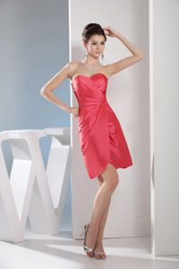 Sweetheart Short Ruched Watermelon Red Mother Bride Dress for Wedding