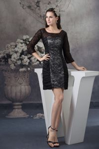 3/4-length Scoop Long Sleeves Black Mini Mother Bride Dress with Lace