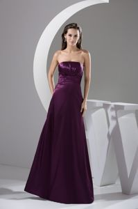 Strapless Ruffled and Ruched Mother Dresses for Formal Prom in Purple