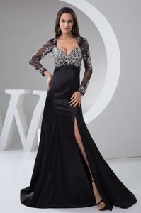 Black Beaded High Slit Mother Of The Groom Dresses with Long Sleeves