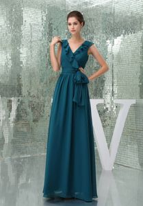 Teal Chiffon Flouncing V-neck Mother of the Bride Dresses with Sashes
