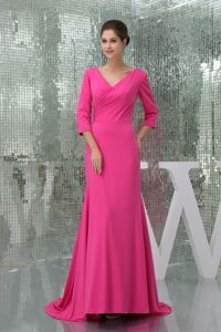 V-neck Brush Train Hot Pink Mother Of Bride Dresses with 3/4 Sleeves