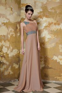 Hot Beaded Brown One Shoulder Mother Bride Dress for Summer Wedding