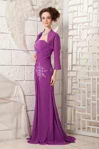 One Shoulder Purple Chiffon Appliques Brush Train Mother Bride Dress