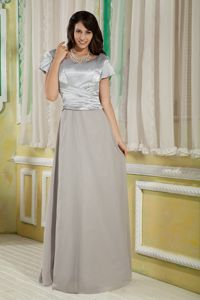 Empire Grey Scoop Mother Of The Bride Outfits with Sleeves in Maine