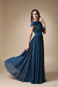 Navy Blue Chiffon Ruche Mother Of Bride Dresses Sashed in New Jersey