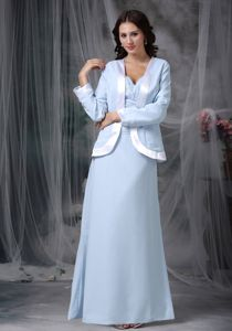 Chiffon Light Blue Square Appliques Mother Bride Gown in New Mexico