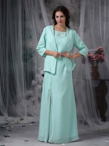 Scoop Sheath Chiffon Beaded Mother Of The Groom Dress in Apple Green