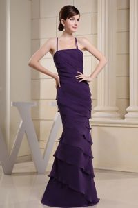 Layered Ruffles Purple Mother Of Bride Gowns with Crisscross Straps