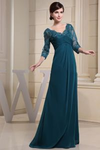 Teal V-neck Mother Of The Bride Outfits With Lace and 3/4 Sleeves