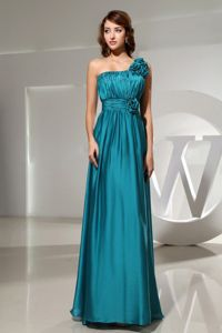 One Shoulder Flowers Mother of the Bride Dress for Wedding in Teal