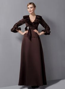 Ankle-length Brown V-neck Sash Mother Of The Bride Outfits in Oregon