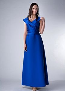 Ankle-length Royal Blue Satin V-neck Mother Bride Dress in Nebraska