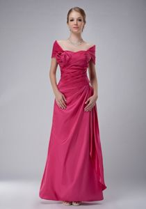Ankle-length Off The Shoulder Mother Of The Bride Dress in Hot Pink