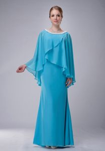 Scoop Aqua Blue Beaded Chiffon Mother Of The Bride Outfits for Cheap
