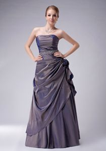 Taffeta Beads Purple Dresses For Bride Mother with Hand Made Flower