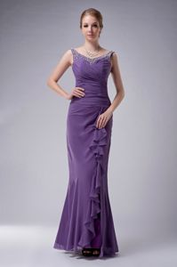 Purple Beaded Chiffon Mother Of The Bride Dress with Straps on Sale