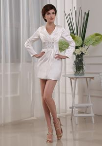 V-neck Beaded Mini-length White Mother Bride Dress with Long Sleeves