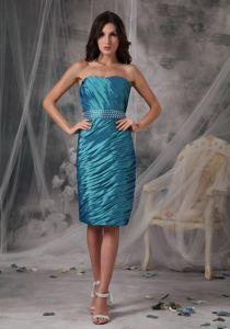 Knee-length Teal Sheath Mother of the Bride Dress Ruffled under 150