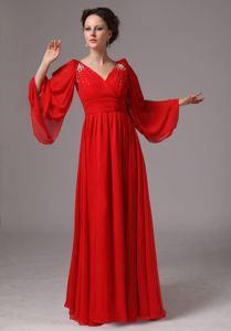 V-neck Red Appliques Mother Bride Dress with Long Sleeves for Cheap