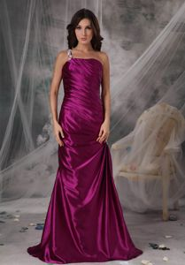 Chic One Shoulder Fuchsia Mother Of The Groom Dresses with Appliques