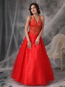 Halter Red Tulle Appliques Mother Bride Dresses Beaded in New Mexico