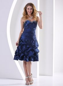 Knee-length Pick-ups Sweetheart Navy Blue Beaded Mother Bride Dress