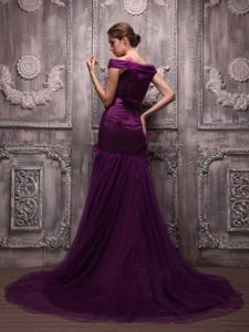 Off The Shoulder Brush Train Dark Purple Mermaid Mother Dresses 2013
