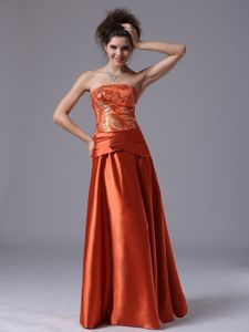 Beaded Taffeta 2014 Column Mother Bride Gown in Rust Red with Prints