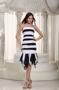 Knee-length White and Black Mermaid Ruched Mother Dresses in Montana