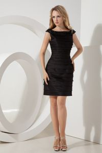 Bateau Black Mini-length Taffeta Ruched Mother Of Bride Dress Cheap