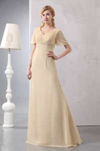 V-neck Light Yellow Chiffon Empire Beaded Mother Dress in Minnesota